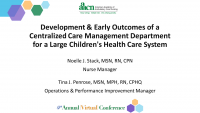 Development and Early Outcomes of a Centralized Care Management Department for a Large Children's Health Care System icon