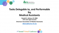 Tasks Delegable to, and Performed by Medical Assistants icon