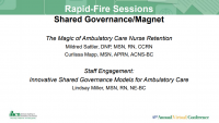Shared Governance/Magnet Rapid-Fire Sessions