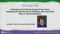 Ambulatory Care Nursing Design for the Future: Integrating the RN Role, Nurse Residency, NSIs, and Josiah Macy Jr. Recommendations