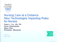 Nursing Care at a Distance - New Technologies Impacting Roles for Ambulatory Nurses icon
