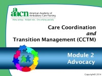 Module 2: Care Coordination and Transition Management: Advocacy