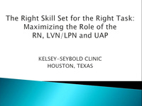 Special In-Brief Session: The Right Skill Set for the Right Task: Maximizing the Role of the RN, LVN, and Unlicensed Assistive Personnel (UAP); Innovation Within the Primary Care Rooming Process and the Outstanding Results icon