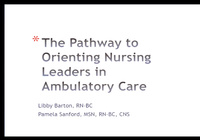 Special In-Brief Session: The Pathway to Orienting Nursing Leaders in Ambulatory Care; Lead From Where You Are