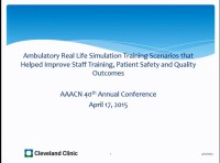 Ambulatory Real-Life Simulation Training Scenarios that Helped Improve Staff Training, Patient Safety, and Quality Outcomes