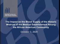 AM20-01: The Impact on the Blood Supply of the Historic Mistrust of the Medical Establishment Among the African American Community icon