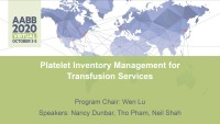 AM20-40: Platelet Inventory Management for Transfusion Services icon