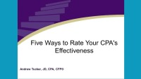 2019 Webinar - Five Ways to Rate Your CPA's Effectiveness