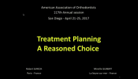 Treatment Planning: A Reasoned Choice