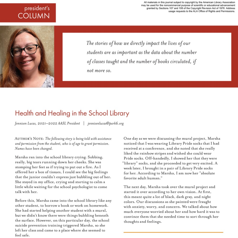 President's Column: Health and Healing in the School Library (Volume 50, No.1, pgs 4-5) icon