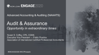 NAA2001. Auditing and Assurance: Opportunity (and Challenge) in Uncertain Times