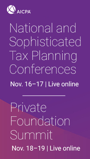 AICPA National Tax & Sophisticated Tax Conferences with Private Foundation Summit 2020 icon