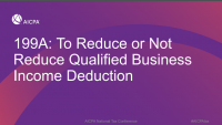 199A: To Reduce or Not Reduce Qualified Business Income Deduction icon