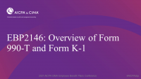 Overview of Form 990-T and Form K-1