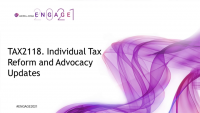 TAX2118. Individual Tax Reform and Advocacy Updates