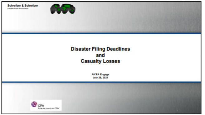 TAX2112. Disaster Filing Deadlines and Casualty Losses