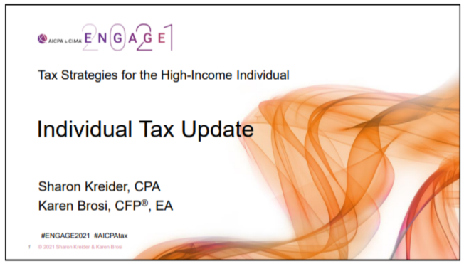 TAX2107. Individual Tax Update, following the presentation of the Sid Kess Award for Excellence in Continuing Education