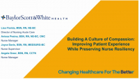 Building a Culture of Compassion: Improving Patient Experience While Preserving Nurse Resiliency icon