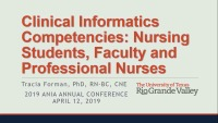 Clinical Informatics Competencies: Nursing Students, Faculty and Professional Nurses