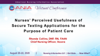 Analyzing When, Why, and How Nurses Use Secure Texting Apps for Patient Care
