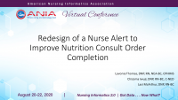 Redesign of a Nurse Alert to Improve Nutrition Consult Order Completion