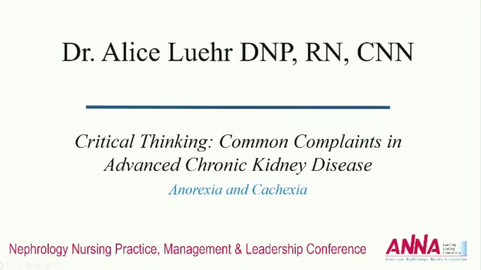Critical Thinking: Common Complaints in Advanced Chronic Kidney Disease: Anorexia/Cachexia icon