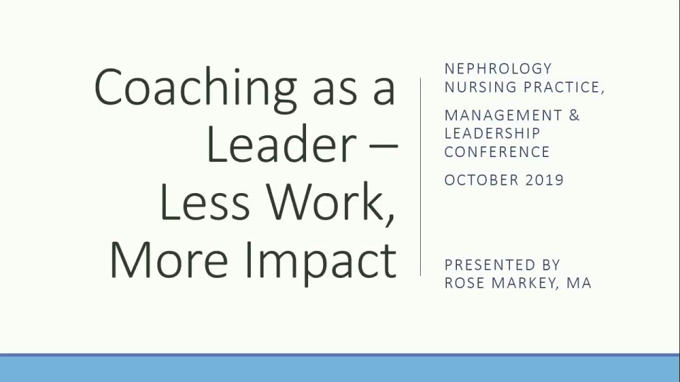 Going for the Gold in Nurse Management: Coaching as a Leader - Less Work, More Impact icon