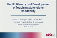 Pediatric ~ Health Literacy and Development of Teaching Materials for Readability