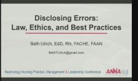 Disclosing Errors: Law, Ethics, and Best Practices