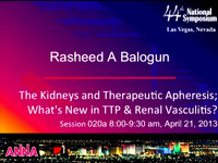 Acute Care Technologies: The Kidneys and Therapeutic Aphaeresis - What's New in TTP and Renal Vasculitis icon