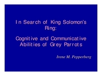 In Search of King Solomon's Ring: Studies on the Cognitive and Communicative Abilities of Grey Parrots icon