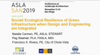Social/Ecological Resilience of Green Infrastructure When Design and Engineering Are Integrated - 1.25 PDH (LA CES/HSW)