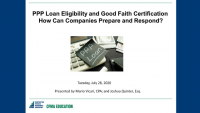 PPP Loan Eligibility and Good Faith Certification: How Can Companies Prepare and Respond   icon