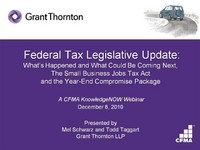 Federal Tax Legislative Update: What Has Happened and What Could Be Coming Next icon