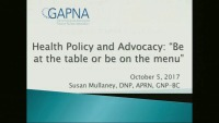 """Health Policy and Advocacy: """"Be at the Table or Be on the Menu"""""""
