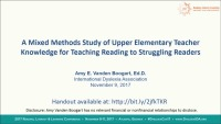What Do Upper Elementary Teachers Know About Teaching Reading to Struggling Readers? icon