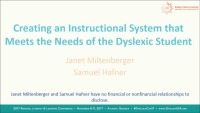 Creating an Instructional System That Meets the Needs of the Dyslexic Student icon