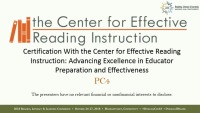 Certification with the Center for Effective Reading Instruction: Advancing Excellence in Educator Preparation and Effectiveness icon