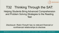 Thinking Through the SAT: Helping Students Bring Advanced Comprehension and Problem Solving Strategies to the Reading Test. icon