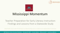 Mississippi Momentum: Teacher Preparation for Early Literacy Instruction--Findings and Lessons From a Statewide Study icon