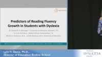 Predictors of Reading Fluency Growth in Students With Dyslexia