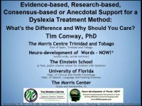 Evidence-Based, Research-Based, Consensus-Based, or Anecdotal Support for a Dyslexia Treatment Method: What's the Difference and Why Should You Care?