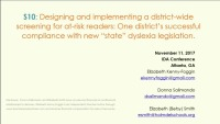 Designing and Implementing a District Wide Screening for At-Risk Readers: One Districts Successful Compliance With New State Dyslexia Legislation