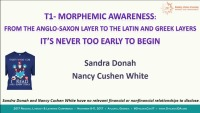 Morphemic Awareness: From the Anglo Saxon Layer to the Latin and Greek Layer.  It's Never to Early to Begin. icon