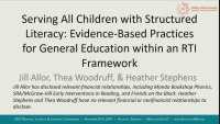Serving All Children With Structured Literacy: Evidence-Based Practices for General Education Within an RTI Framework icon