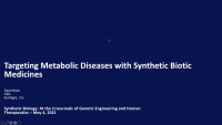 Targeting Metabolic Diseases with Synthetic Biotic Medicines icon