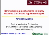 V8.03 - Strengthening Mechanisms of Highly Textured Cu/Co and Ag/Al Nanolayers with High Density Twins and Stacking Faults icon