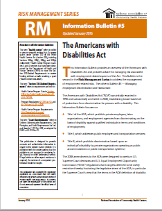 RM Information Bulletin: Americans with Disabilities Act