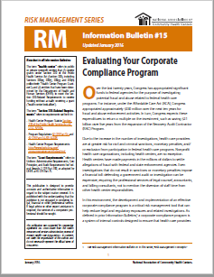 RM Information Bulletin: Evaluating Your Corporate Compliance Program