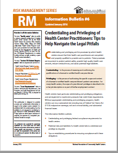 RM Information Bulletin: Credentialing and Privileging